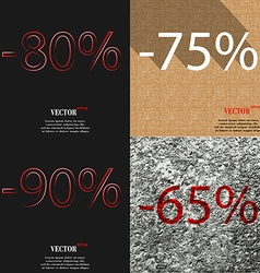 75 90 65 icon set of percent discount on abstract vector