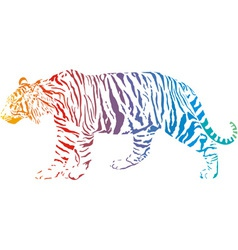 Tiger - abstract rainbow vector