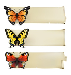 Retro butterfly banners1 vector