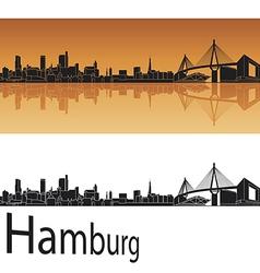 Hamburg skyline in orange background vector
