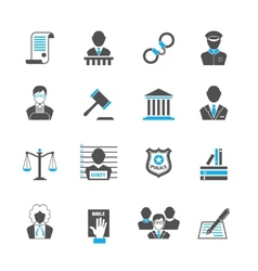 Law icons set vector