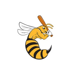 Killer bee baseball player bat cartoon vector