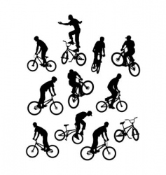 Silhouettes of bicyclists vector