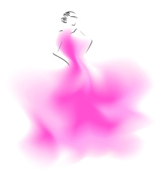 Sketch of a wedding fashion model vector