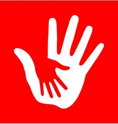 Caring hand on red background vector