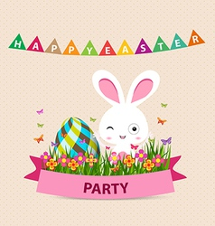 Happy easter party bunny eggs and bunny vector