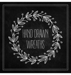 Decorative wreaths drawn in chalk on a blackboard vector