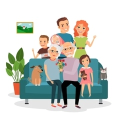 Family on sofa vector