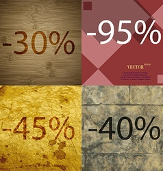 95 45 40 icon set of percent discount on abstract vector