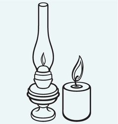 Kerosene lamp and candle vector