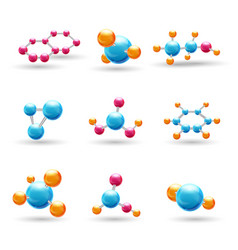 3d chemical molecules vector