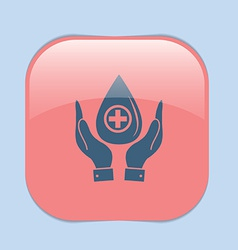 Hands holding a drop donate medical icon vector