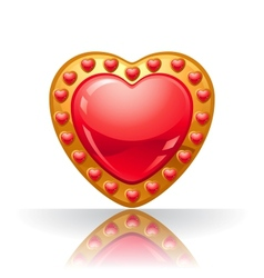 Glossy big red jewelry heart vector