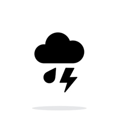 Rain with lightning weather icon on white vector