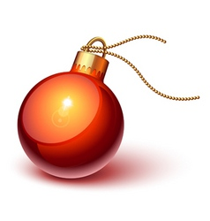 Shiny red christmas ornament vector