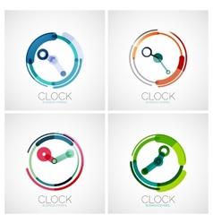 Set of clock time company logos vector