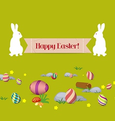 Easter eggs and bunny banner vector