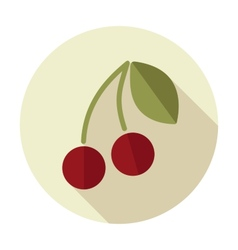 Cherry flat icon with long shadow vector