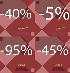 5 95 45 icon set of percent discount on abstract vector
