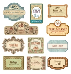 Ornate vintage labels in style art nouveau vector