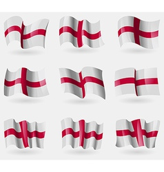 Set of england flags in the air vector