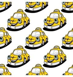 Cartoon taxi character seamless pattern vector