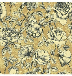 Rose pattern beige vector