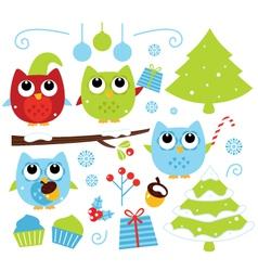 Christmas cartoon owls and decoration set isolated vector