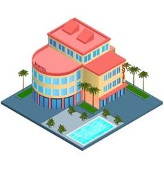 Hotel building isometric vector