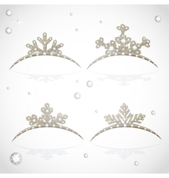 Gold crown tiara snowflakes shaped for christmas vector