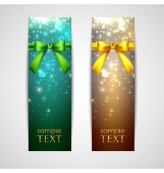 Holiday banners with yellow and green bows vector
