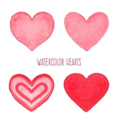 Watercolor hearts set vector