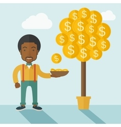 Successful african businessman standing while vector