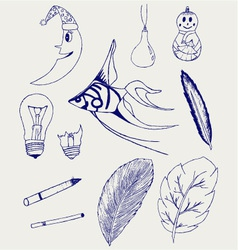 Set of hand-drawn design elements vector