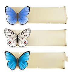 Retro butterfly banners3 vector