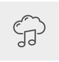 Cloud melody thin line icon vector