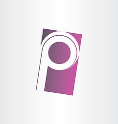 Letter p purple sign design vector