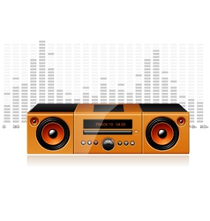 Orange boombox with signal spectrum detailed vector