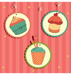 Cakes in frame on the string vector