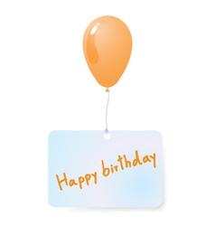 Balloon with happy birthday tag vector