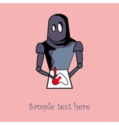 Robot with heart card design vector