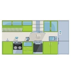 Green kitchen on a white background vector