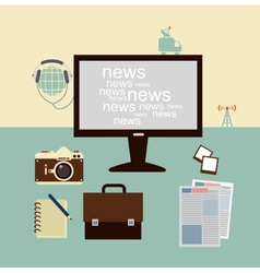 News from a journalist on the computer vector