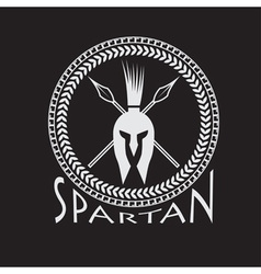Spartan helmet with spears and shield vector