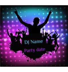 Poster template for disco party vector