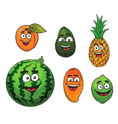 Fresh tropical fruits set vector