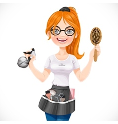Cute redhead girl hairdresser with spray and vector