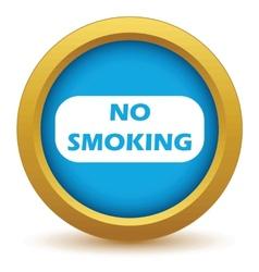 Gold no smoking icon vector