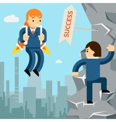Rise to success businessman with rocket vector