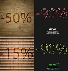 90 15 icon set of percent discount on abstract vector